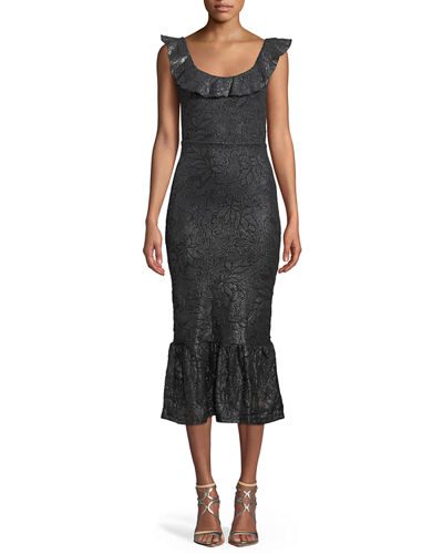 Metallic Scoop-Neck Flounce-Hem Dress