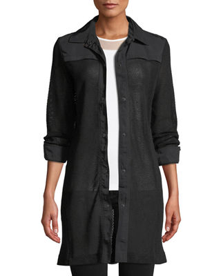 ANATOMIE Katia Snap-Front Mesh Trench Coat in Black