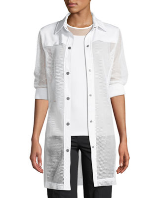 ANATOMIE Katia Snap-Front Mesh Trench Coat in White