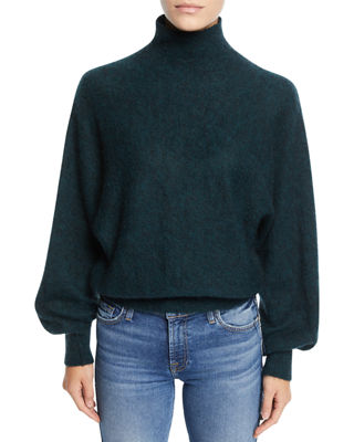 7 FOR ALL MANKIND Mock-Neck Wool-Blend Pullover Sweater in Dark Forest Green