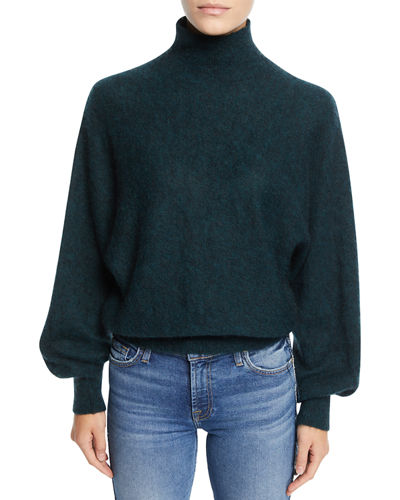 Mock-Neck Wool-Blend Pullover Sweater