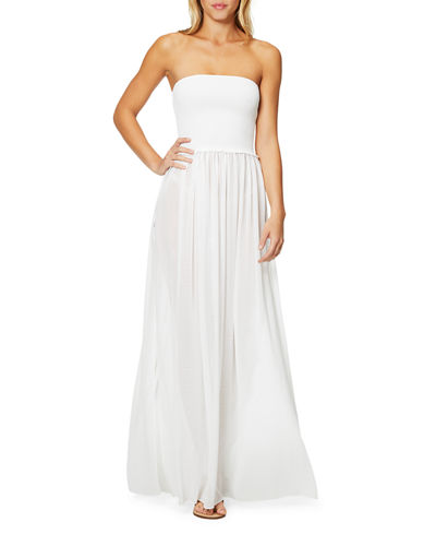 Calista Smocked Strapless Side-Split Coverup Dress