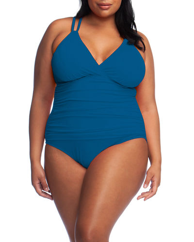 Plus Size Island Goddess Surplice Underwire One-Piece Swimsuit