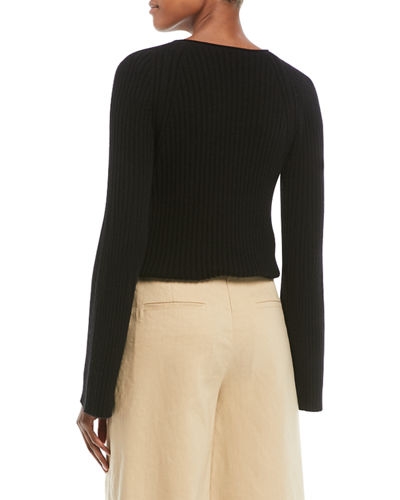 Slit-Shoulder Ribbed Cashmere Sweater