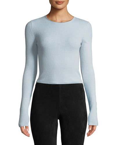 e1e05026a6 Quick Look. Vince · Ribbed Cashmere Long-Sleeve Crewneck Top