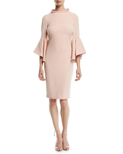 Bell-Sleeve Faille Cocktail Dress