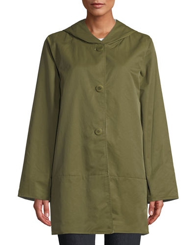 Reversible Organic Cotton/Nylon Hooded Raincoat, Plus Size