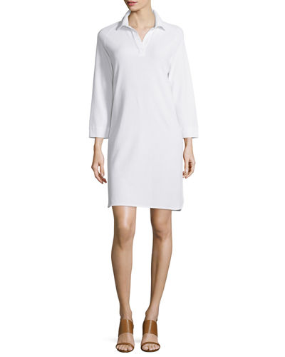 Plus Size 3/4-Sleeve Shirttail Pique Dress