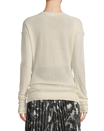 Dropped-Shoulder Cashmere Crewneck Top
