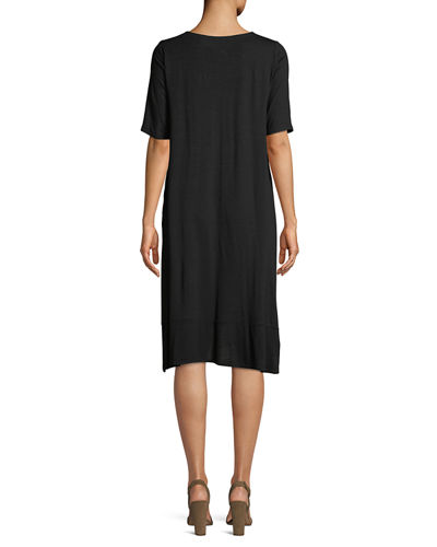 Half-Sleeve Lightweight Jersey Asymmetric Dress