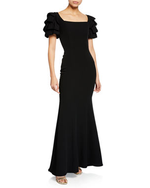 28de8aae744 Badgley Mischka Collection Square-Neck Gown w  Looped Sleeves
