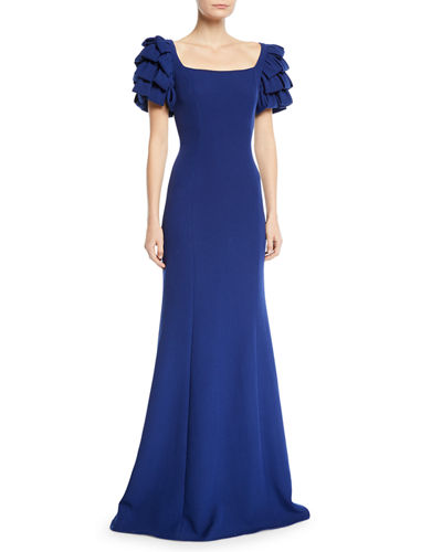 Square-Neck Gown w/ Looped Sleeves