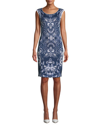 NK32 NAEEM KHAN Cap-Sleeve Damask-Print Cocktail Dress With Side Stripes in Blue/White