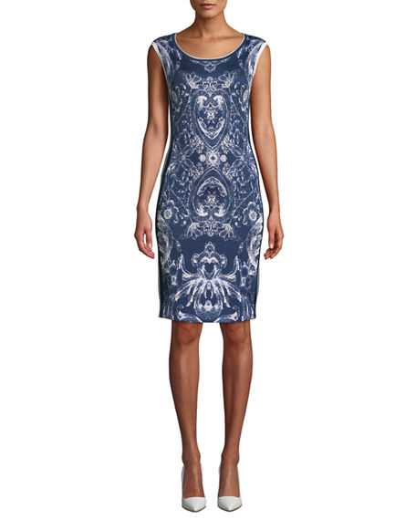 NK32 Naeem Khan Cap-Sleeve Damask-Print Cocktail Dress with Side Stripes