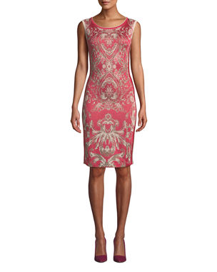 c2cb30c4896 NK32 Naeem Khan Cap-Sleeve Damask-Print Cocktail Dress with Side Stripes