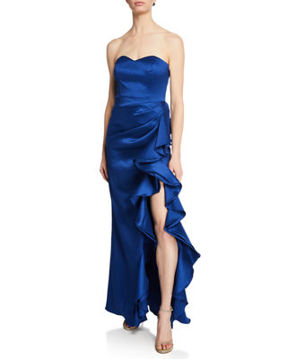 Strapless Column Gown W/ Bustier Bodice & Side Ruffle in Navy