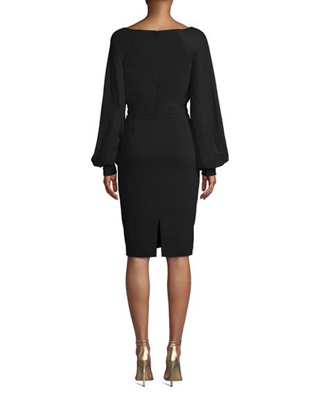 Image 3 of 4: Badgley Mischka Collection V-Neck Blouson-Sleeve Faux-Wrap Cocktail Dress