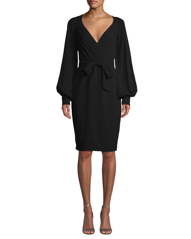 Badgley Mischka Collection V-Neck Blouson-Sleeve Faux-Wrap Cocktail Dress
