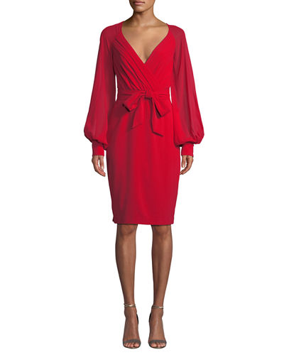V-Neck Blouson-Sleeve Faux-Wrap Cocktail Dress