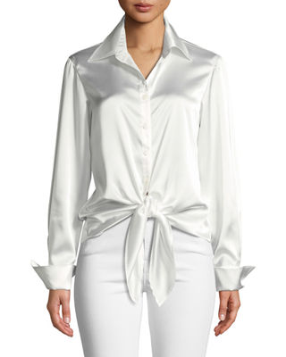 FINLEY Lindy Button-Front Long-Sleeve Satin Blouse W/ Tie-Front in Ivory