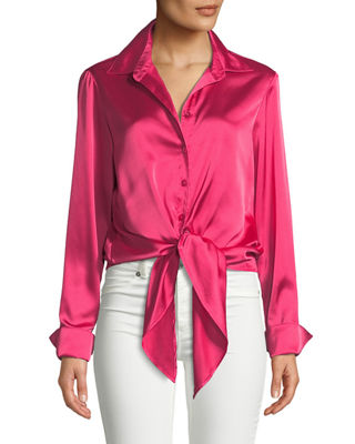 FINLEY Lindy Button-Front Long-Sleeve Satin Blouse W/ Tie-Front in Pink