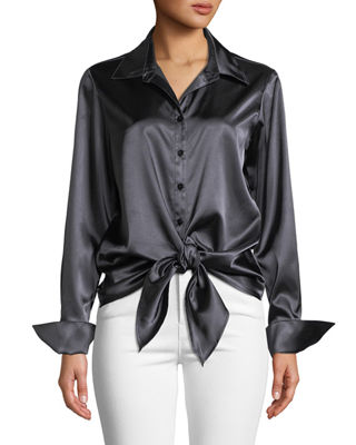 FINLEY Lindy Button-Front Long-Sleeve Satin Blouse W/ Tie-Front in Smoke