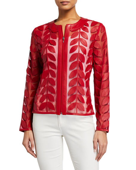 Image 2 of 3: Neiman Marcus Leather Collection Leather Leaf & Mesh Combo Jacket