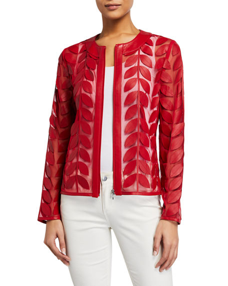Image 1 of 3: Neiman Marcus Leather Collection Leather Leaf & Mesh Combo Jacket