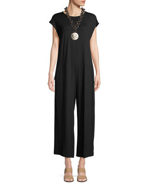 07724476d612 Eileen Fisher Lightweight Viscose Jersey Cap-Sleeve Jumpsuit