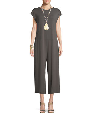 998285ee4e54 Eileen Fisher Lightweight Viscose Jersey Cap-Sleeve Jumpsuit