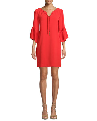 Trina Turk Carmel Scoop-Neck Keyhole-Front Bell-Sleeve Baroque Crepe Dress