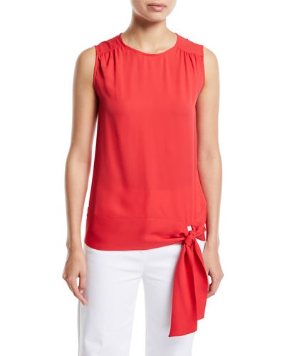 Satin Silk Georgette Sleeveless Top w/ Shirring Detail & Tie