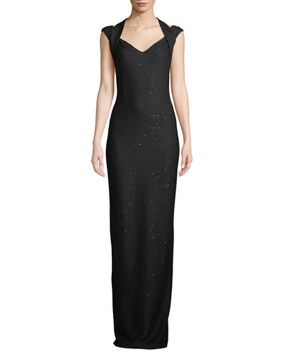 Links Sequin Knit Drape Halter Column Gown