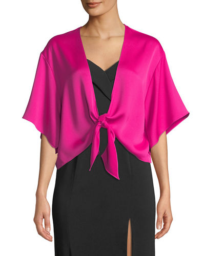 Knot-Front Dolman-Sleeve Satin Shirt