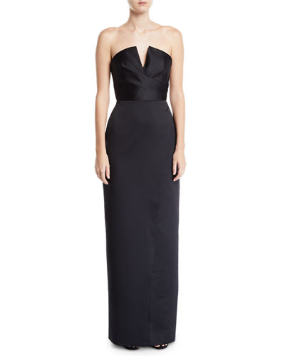 Jay Godfrey Darcy Strapless V-Neck Gown w/ Slit