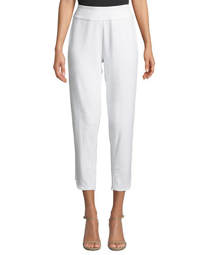 Plus Size Stretch-Interlock Cropped Pants with Notched Hem
