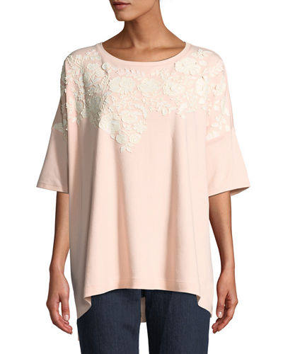 Plus Size Short-Sleeve Relaxed Big Tee with Floral Applique