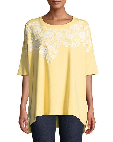 Joan Vass PLUS SIZE SHORT-SLEEVE RELAXED BIG TEE WITH FLORAL APPLIQUE