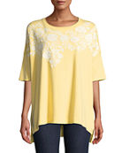 Joan Vass Oversized Big Tee w/ Floral Applique