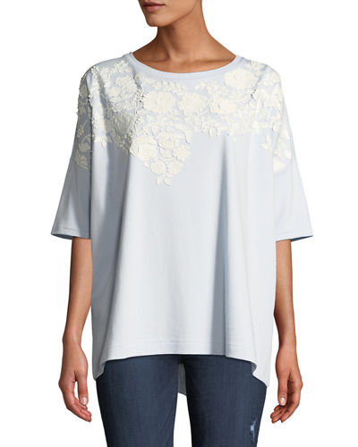 Oversized Big Tee w/ Floral Applique