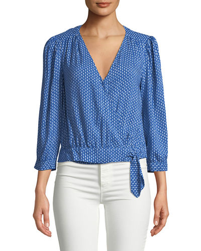 Rayla Printed 3/4-Sleeve Wrap Top