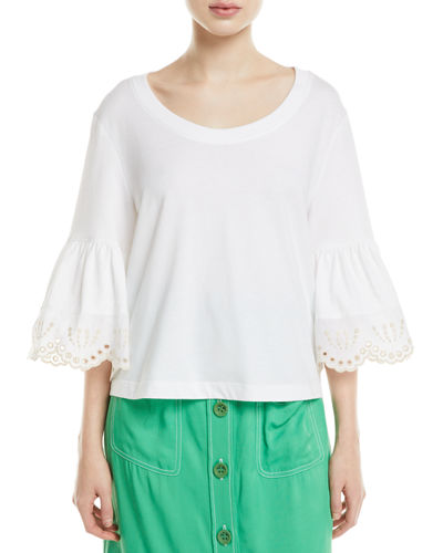 7df5503689dab6 Quick Look. See by Chloe · Lace-Cuff Cotton Top