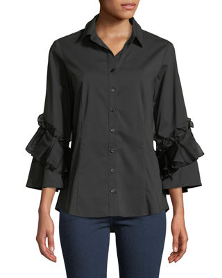 FINLEY Vera Crystal Cuts Button-Front Ruffle-Sleeve Blouse in Black