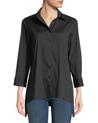 FINLEY Roxanne Button-Front Easy Blouse in Black