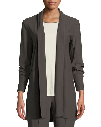 Petite Stretch-Crepe Open-Front Long Jacket