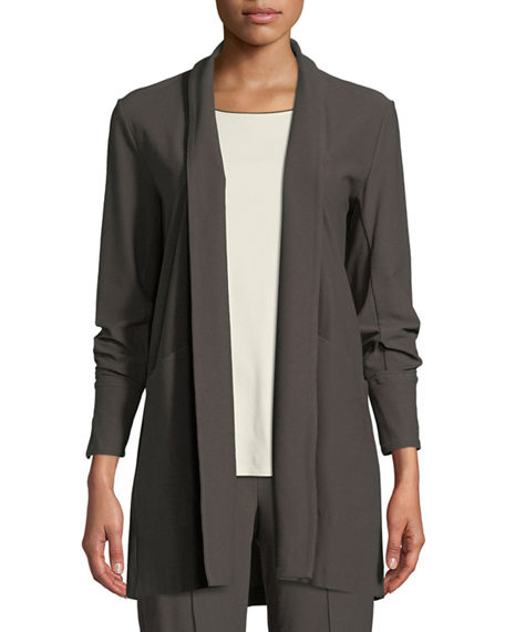 Eileen Fisher Petite Stretch-Crepe Open-Front Long Jacket