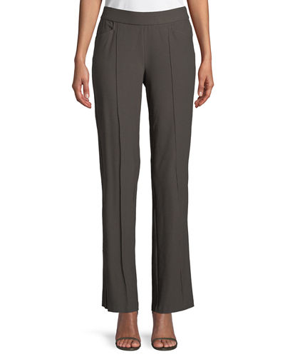 Plus Size Washable Stretch-Crepe Slim Boot-Cut Seam Pants