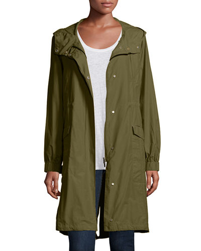 Plus Size Hooded Long Anorak Jacket