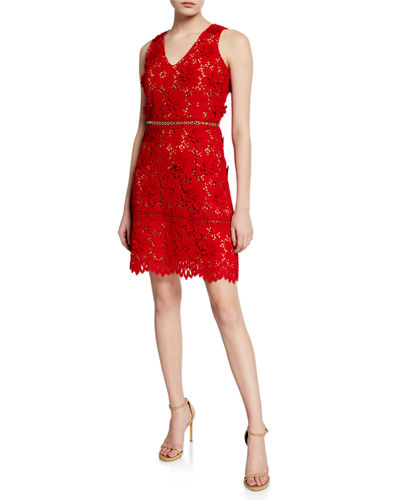 7229301a94 Quick Look. MICHAEL Michael Kors · V-Neck Sleeveless 3D Carnation Lace Mini  Dress