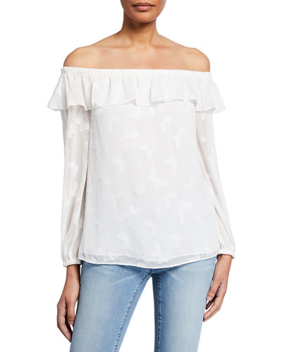 Butterfly Off-the-Shoulder Long-Sleeve Flounce Top